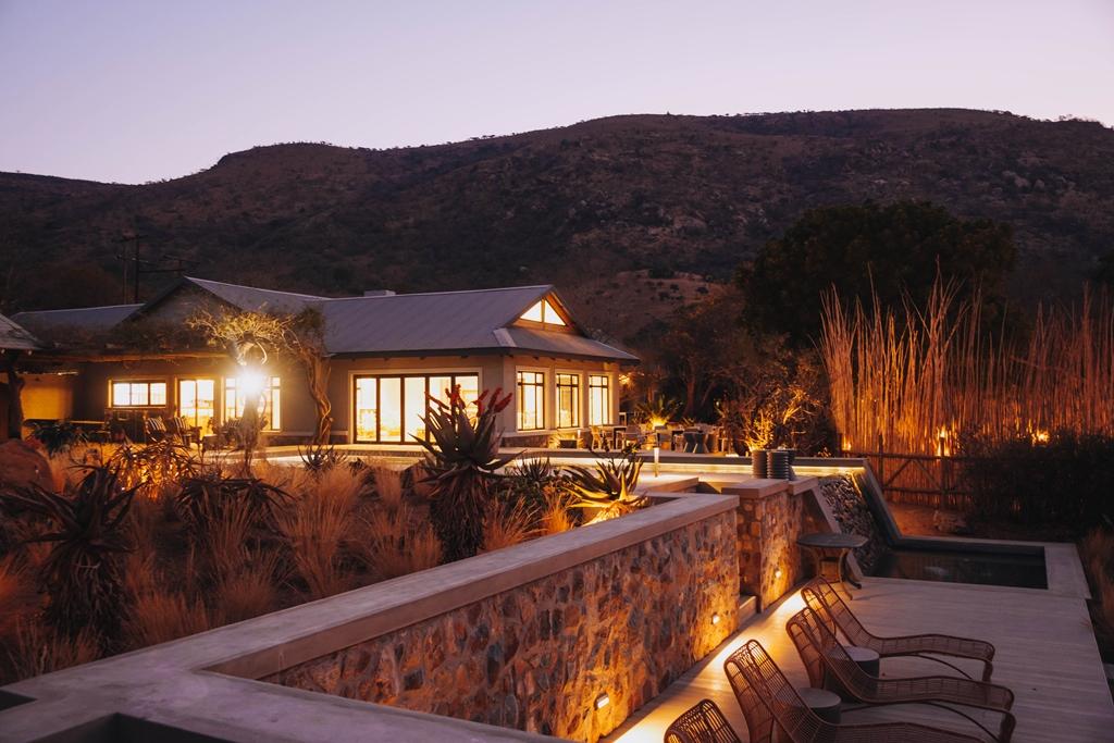Babanango Valley Lodge from beyond the infinity pool.