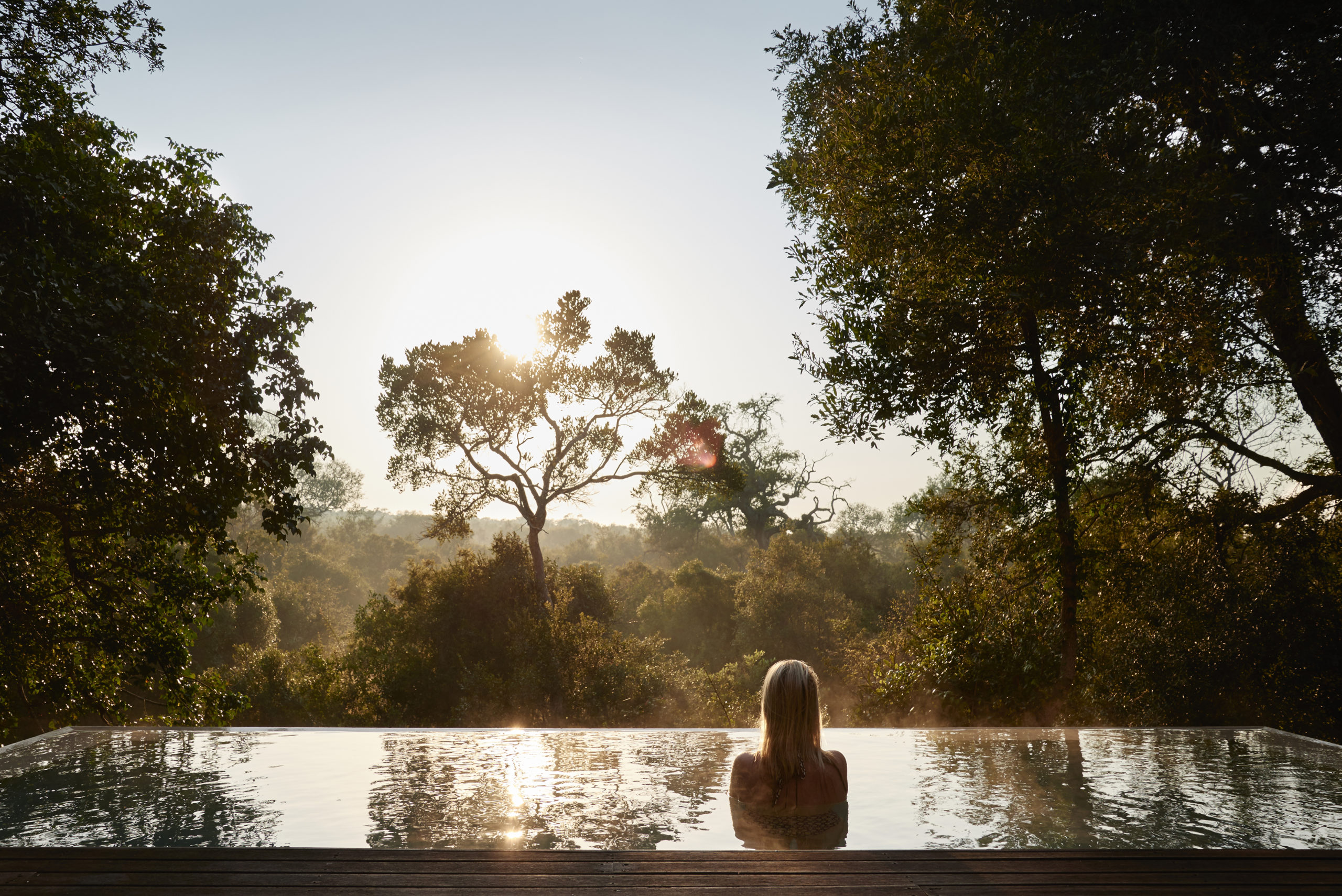 Royal Malawane Safari Lodge private plunge pool at sunrise. Photo courtesy of The Royal Portfolio